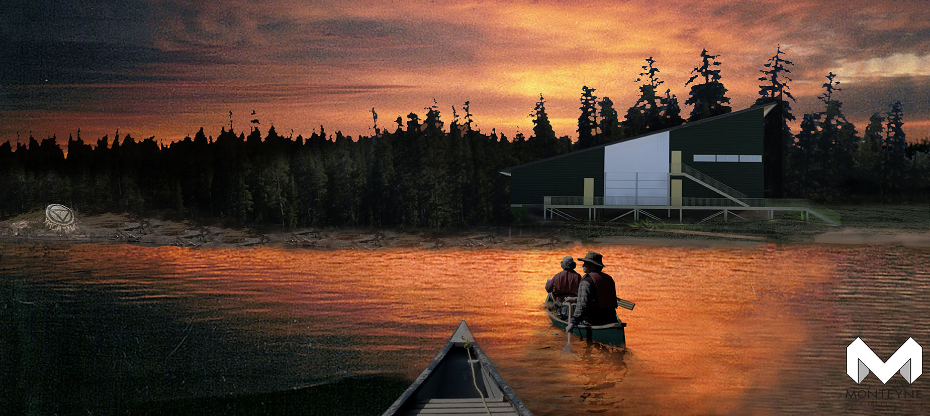canoers paddle in a rendering of camp