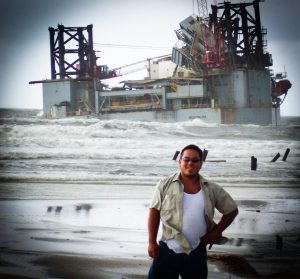 a man stands in front of marine construction material